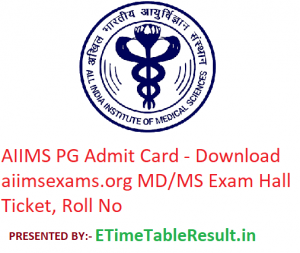 AIIMS PG Admit Card 2019 - Download aiimsexams.org MD/MS Entrance Exam Hall Ticket, Roll No