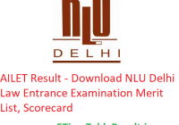 AILET Result 2019 - Download NLU Delhi Law Entrance Exam Merit List, Scorecard