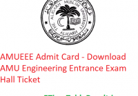 AMUEEE Admit Card 2019 - Download AMU Engineering Entrance Exam Hall Ticket