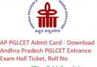 AP PGLCET Admit Card 2019 - Download Andhra Pradesh PGLCET Entrance Exam Hall Ticket, Roll No