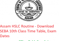 Assam HSLC Routine 2020 - Download SEBA 10th Class Time Table, Exam Dates