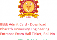 BEEE Admit Card 2019 - Download Bharath University Engineering Entrance Exam Hall Ticket, Roll No
