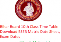 BSEB 10th Class Time Table 2020 - Download Bihar Board Matric Date Sheet, Exam Dates