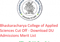 Bhaskaracharya College of Applied Science Cut Off 2019 - Download DU Admissions Merit List