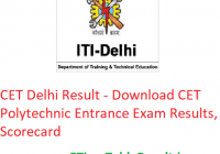CET Delhi Result 2019 - Download Delhi Polytechnic Entrance Exam Results, Scorecard