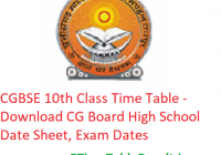 CGBSE 10th Class Time Table 2020 - Download CG Board High School Date Sheet, Exam Dates