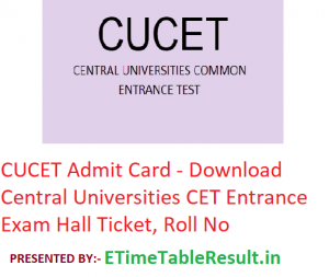 CUCET Admit Card 2019 - Download Central Universities CET Entrance Exam Hall Ticket, Roll No