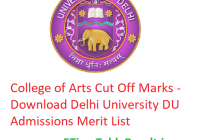 College of Arts Cut Off 2019 - Download Delhi University Admissions Merit List