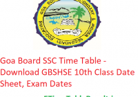 Goa Board SSC Time Table 2020 - Download GBSHSE 10th Class Date Sheet, Exam Dates