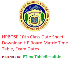 HPBOSE 10th Class Date Sheet 2020 - Download HP Board Matric Time Table, Exam Dates