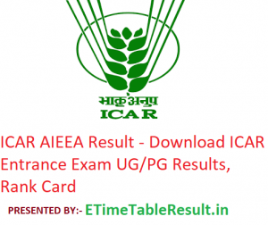 ICAR AIEEA Result 2019 - Download ICAR Entrance Examination UG & PG Results, Rank Card