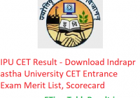IPU CET Result 2019 - Download Indraprastha University CET Entrance Exam Merit List, Scorecard