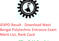 JEXPO Result 2019 - Download WB Polytechnic Entrance Exam Merit List, Rank Card