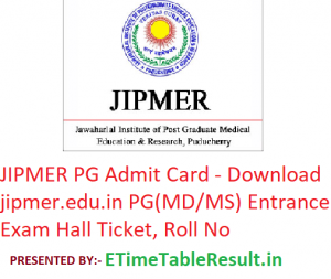 JIPMER PG Admit Card 2019 - Download jipmer.edu.in PG (MD/MS) Entrance Exam Hall Ticket, Roll No
