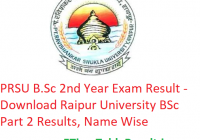 PRSU B.Sc 2nd Year Result 2019 - Download Raipur University BSc Part 2 Exam Results, Name Wise