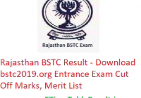 Rajasthan BSTC Result 2019 - Download bstc2019.org Entrance Exam CutOff, Merit List