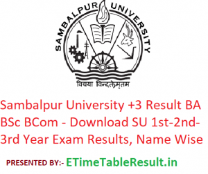 Sambal University +3 Result 2019 BA BSc BCom - Download SU 1st-2nd-3rd Year Exam Results, Name Wise