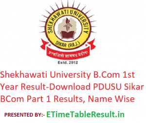 Shekhawati University B.Com 1st Year Result 2019 - Download PDUSU Sikar BCom Part 1 Exam Results, Name Wise