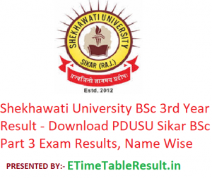 Shekhawati University B.Sc 3rd Year Result 2019 - Download PDUSU Sikar BSc Part 3 Exam Results, Name Wise