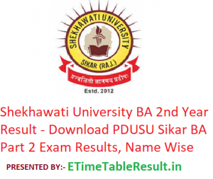Shekhawati University BA 2nd Year Result 2019 - Download PDUSU Sikar BA Part 2 Exam Results, Name Wise