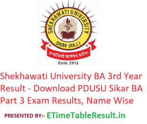 Shekhawati University BA 3rd Year Result 2019 - Download PDUSU Sikar BA Part 3 Exam Results, Name Wise