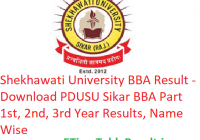 Shekhawati University BBA Result 2019 - Download PDUSU Sikar BBA Part 1st-2nd-3rd Year Results, Name Wise