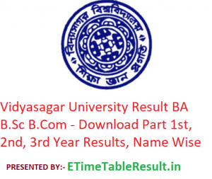 Vidyasagar University Result 2019 BA B.Sc B.Com - Download Part 1st-2nd-3rd Year Results, Name Wise
