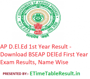 AP D.El.Ed 1st Year Result 2019 - Download BSEAP DElEd First Year Exam Results, Name Wise