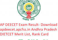AP DEECET Result 2019 - Download apdeecet.apcfss.in DIECET Exam Merit List, Rank Card