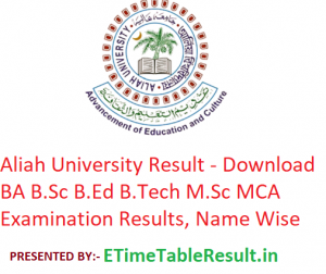 Aliah University Result 2019 - Download BA BSc BEd BTech MSC MCA Exam Results