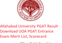 Allahabad University PGAT Result 2019 - Download UOA PGAT Exam Merit List, Scorecard