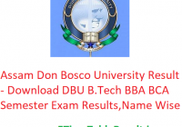 Assam Don Bosco University Result 2019 - Download DBU B.Tech BBA BCA Exam Results, Name Wise