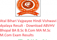 Atal Bihari Vajpayee Hindi Vishwavidyalaya Result 2019 - Download ABVHV Bhopal UG/PG Exam Results