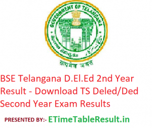 BSE Telangana D.El.Ed 2nd Year Result 2019 - Downlaod TS Deled/Ded Second Year Exam Results