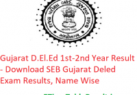 Gujarat D.El.Ed 1st-2nd Year Result 2019 - Download SEB Gujarat Deled Exam Results, Name Wise