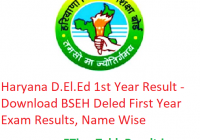 Haryana D.El.Ed 1st Year Result 2019 - Download BSEH Deled First Year Exam Results, Name Wise