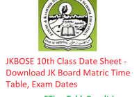 JKBOSE 10th Class Date Sheet 2020 - Download JK Board Matric Time Table, Exam Dates