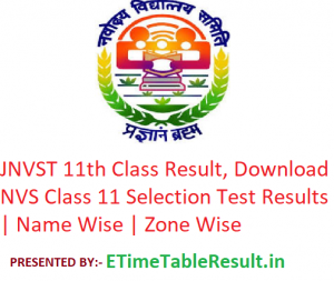 JNVST 11th Class Result 2019, Download NVS Selection Test Class 11 Exam Results | Zone Wise