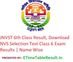 JNVST 6th Class Result 2019, Download NVS Selection Test Class 6 Exam Results | Name Wise
