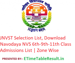 JNVST Selection List 2019, Download Navodaya Vidyalaya 6th-9th-11th Class Admissions List | Zone Wise
