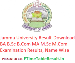 Jammu University Result 2019 - Download BA BSc BCom MA MSc MCom Exam Results