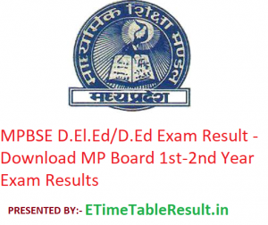 MPBSE D.El.Ed/D.Ed Result 2019 - Download MP Board 1st-2nd Year Exam Results