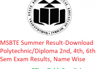 MSBTE Summer Result 2019 - Download Polytechnic/Diploma 2nd-4th-6th Sem Exam Results, Name Wise