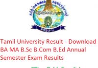 Tamil University Result 2019 - Download BA MA B.Sc B.Com B.Ed Annual Semester Exam Results