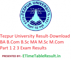Tezpur University Result 2019 - Download BA B.Com B.Sc MA M.Com M.Sc Part 1 2 3 Exam Results
