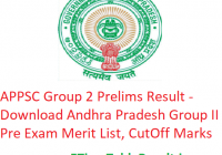 APPSC Group 2 Prelims Result 2019 - Download Andhra Pradesh Group II Pre Exam Merit List, CutOff