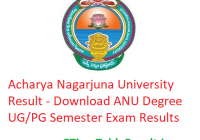Acharya Nagarjuna University Result 2019 - Download ANU Degree UG/PG Semester Exam Results