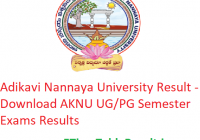 Adikavi Nannaya University Result 2019 - Download AKNU UG/PG Semester Exams Results