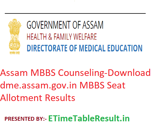 Assam MBBS Counselling 2019 - Download dme assam gov in MBBS Seat