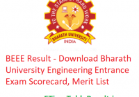 BEEE Result 2019 - Download Bharath University Engineering Entrance Exam Scorecard, Merit List